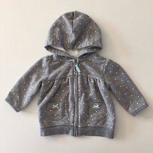 Carters grey polka dot zip up hoodie